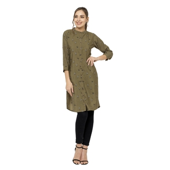 Green printed crepe short-kurtis