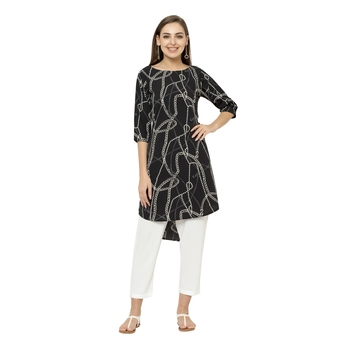 Black printed polyester short-kurtis