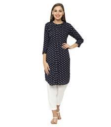 Navy-blue printed polyester ethnic-kurtis