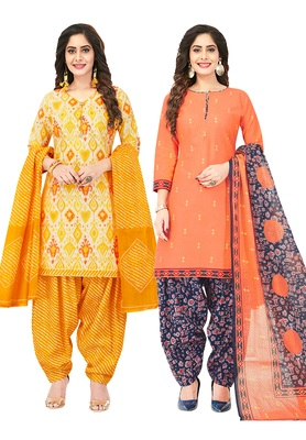 Women's Pack of 2 Synthetic Printed Unstitched Dress Material Combo