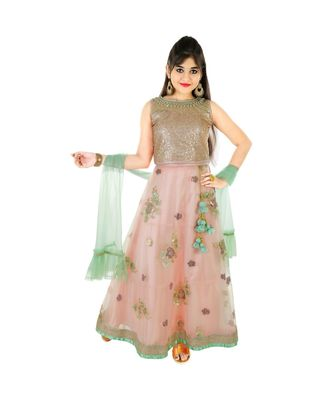 pink Sequins and Stone Embroidery Lehenga Choli for Girls with Blouse and Frills Dupatta