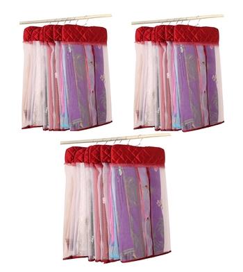 atorakushon® Satin Net Hanging Saree Cover Garments Wardrobe Organizer Pack of18 (maroon)