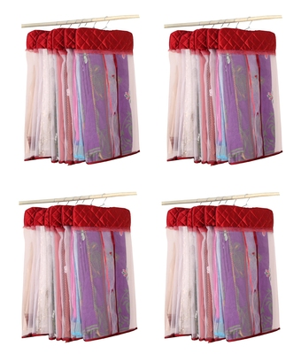 atorakushon® Satin Net Hanging Saree Cover Garments Wardrobe Organizer Pack of24  (maroon)