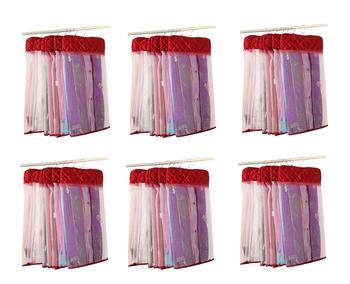 atorakushon® Satin Net Hanging Saree Cover Garments Wardrobe Organizer Pack of36  (maroon)