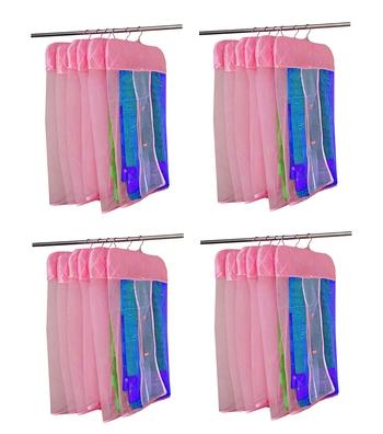 atorakushon® Satin Net Hanging Saree Cover Garments Wardrobe Organizer Pack of24  (Pink)