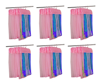 atorakushon® Satin Net Hanging Saree Cover Garments Wardrobe Organizer Pack of36 (Pink)