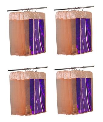 atorakushon® Satin Net Hanging Saree Cover Garments Wardrobe Organizer Pack of24  (peach)