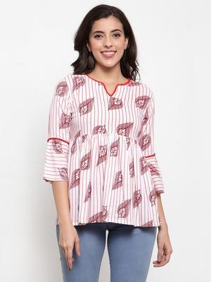 Indibelle White printed viscose rayon cotton-tops