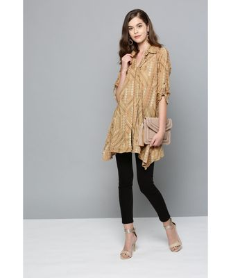 Ritu Kumar Beige Winged Collar Full Sleeve Short Shirt Kurti With Embroidery