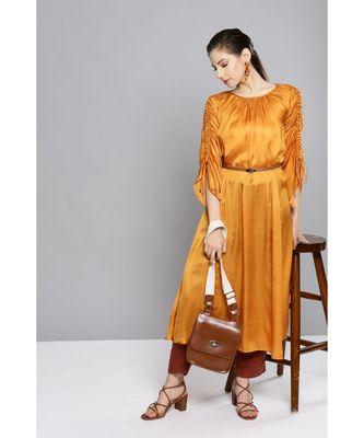 Ritu Kumar Gold Full Sleeve Solid Dress Kurta With Gathers And Belt