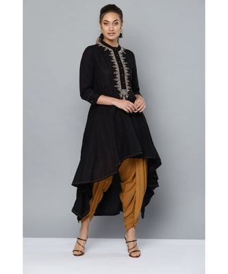 Ritu Kumar Women Black & Mustard Yellow Yoke Design Kurta with Dhoti Pants