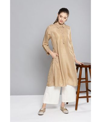 Ritu Kumar Beige Winged Collar Full Sleeve Mid Length Solid Kurti