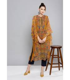 Ritu Kumar Yellow Full Sleeve Floral Printed Kaftan With Camisole