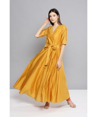 Ritu Kumar Yellow Half Sleeve Solid Long Kurta