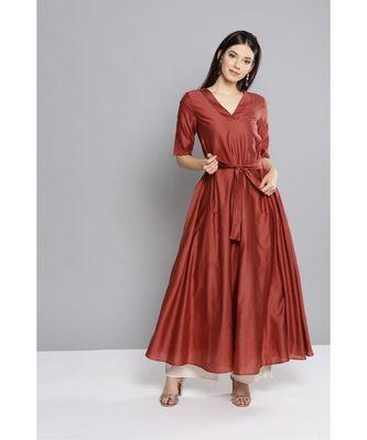 Ritu Kumar Brown Half Sleeve Solid Long Kurta