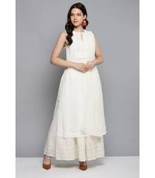 Ritu Kumar Off White Sleeveless Long Solid Kurta With Skirt And Dupatta