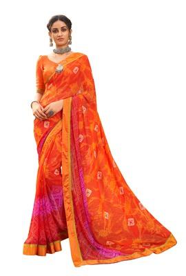 Party wear attractive Look Bandhani  Lace Border  work saree