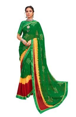 Party wear attractive Look Bandhej Lace Border  work saree