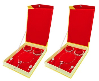 atorakushon Satin gold 2 pc Jewellery Box Necklace Pouches Earrings full Set Box for Travelling Organizer Women And Girl