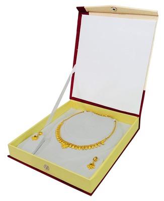 atorakushon Satin Cream 1pc Jewellery Box Necklace Pouches Earrings Half Set Box for Travelling Organizer Women And Girl