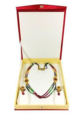 atorakushon Satin maroon1pc Jewellery NECKLACCES BOX Pouches Earrings Half Set Box for Travelling Organizer Women
