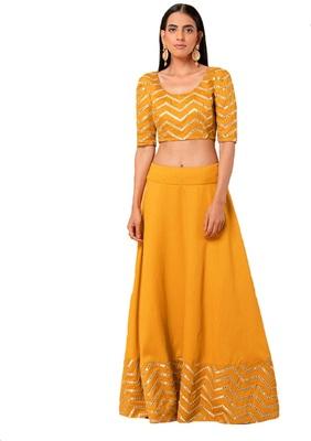 Mustard mirror cotton silk semi stitched lehenga