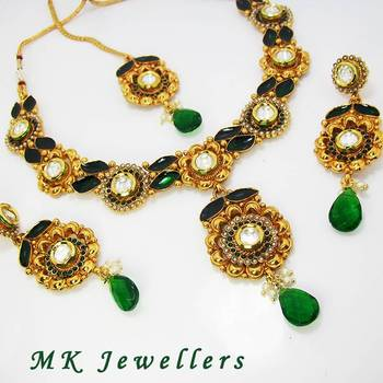 Designer Polki Necklace with Meena Finish Tingy Green
