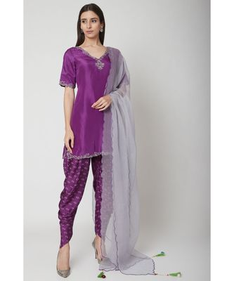 Nangalia Ruchira Purple embroidered Short Kurta with dhoti and dupatta