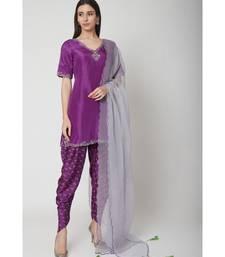 Nangalia Ruchira Purple embroidered Short Kurta with dhoti and dupatta