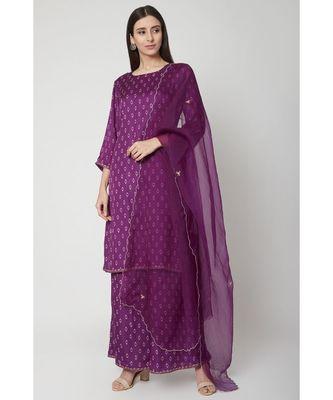 Nangalia Ruchira Purple Knee-length straight fit kurta with palazzo and organza dupatta