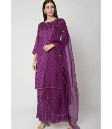 Nangalia Ruchira Purple Knee-length straight fit kurta with palazzo and organza dupatta