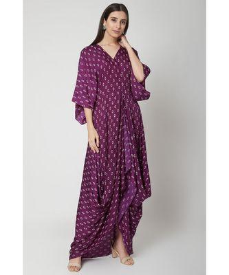 Nangalia Ruchira violet draped dress