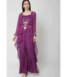 Nangalia Ruchira Purple Embellished handwork blouse with sharara and cape with belt