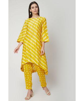 Nangalia Ruchira Yellow relaxed hand dyed leheriya kurta with hand dyed bhandhej pants