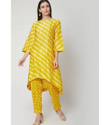 Nangalia Ruchira Yellow relaxed hand dyed leheriya kurta with hand dyed bhandhej pants