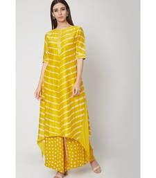 Nangalia Ruchira Yellow hilo leheriya long Kurti with bhandhej palazzo