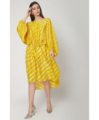 Nangalia Ruchira Yellow Short length kaftan style free and comfortable dress