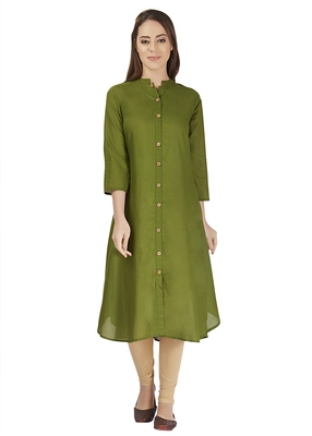 Green flare cotton plain kurta