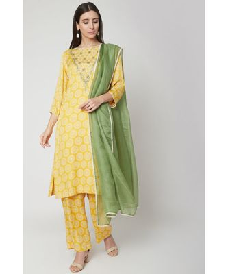 Nangalia Ruchira Yellow Printed kurta set with palazzo and dupatta