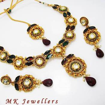 Designer Polki Necklace with Meena Finish Greenish Maroon
