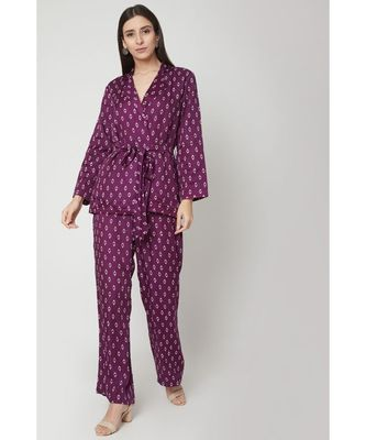 Nangalia Ruchira Purple printed robed jacket with pants cinched w ith a belt
