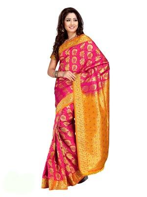 Fuschia Pink and Golden Orange Art Kanchipuram Silk Saree with Blouse
