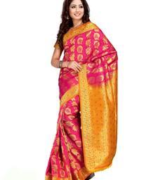 Buy Fuschia Pink and Golden Orange Art Kanchipuram Silk Saree with Blouse kanchipuram-silk-saree online