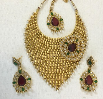 Gold plated Polki Maroon Green Necklace Earring tikka set