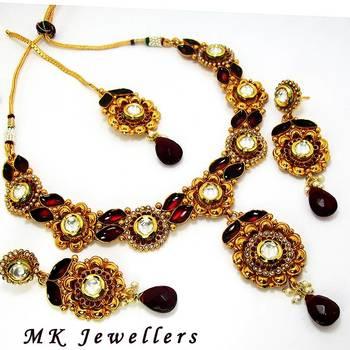 Designer Polki Necklace with Meena Finish Maroon Base