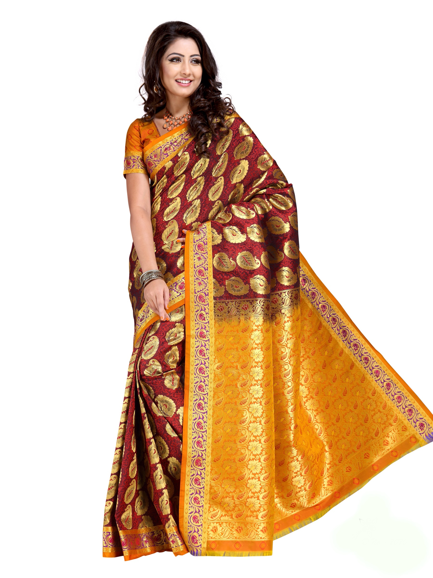 9c527177c5 Dark Maroon and Ochre Art Kanchipuram Silk Saree with Blouse - Aayori -  455728