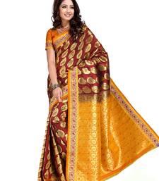 Buy Dark Maroon and Ochre Art Kanchipuram Silk Saree with Blouse kanchipuram-silk-saree online