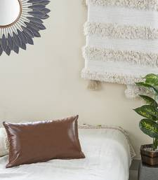 IMPEXART PVT LTD Pu Leather Brown Cushion Cover