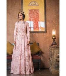 Aarbee pink embroidered silk party wear gown