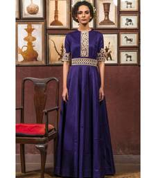 Aarbee purple embroidered satin party wear gown